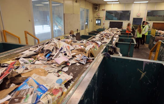 Recyclables on a sorting conveyor are pictured at the Rockland County Solid Waste Management Authority facility in Hillburn, Oct. 6, 2017.