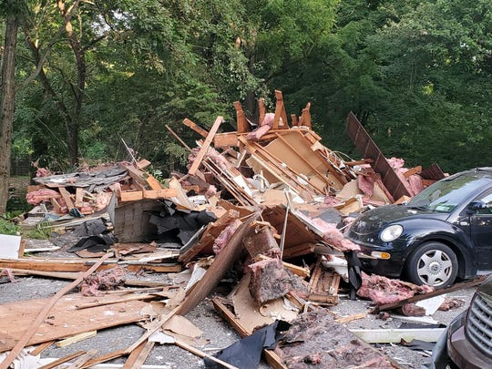 A house explosion in Millwood