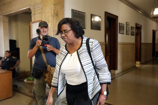 Lisa Copeland leaves the mayor's office after talks with Andre Wallace Aug. 5, 2019 in Mount Vernon.