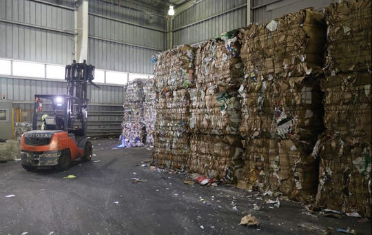 Bales of compressed paper are pictured at the Rockland County Solid Waste Management Authority facility in Hillburn, Oct. 6, 2017.