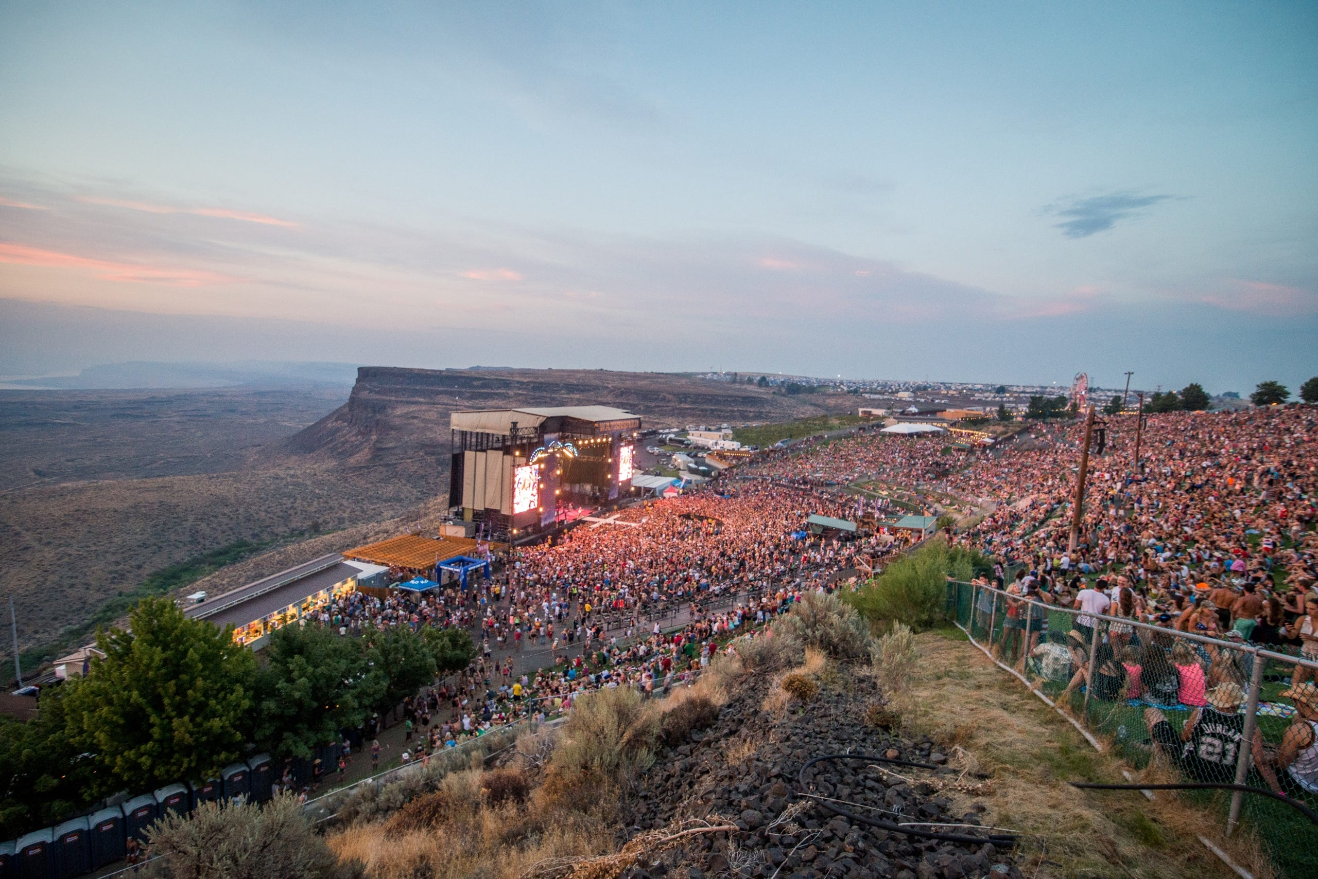 <strong>Quincy, Washington:</strong> The Gorge Amphitheater in Quincy is a remote venue providing sweeping views of the Columbia River and the evening stars.