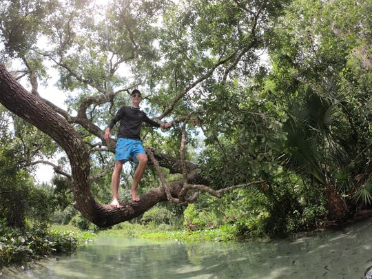En lieu of otter spotting, Austin Stoner amuses himself by doing cannonballs from a low-hanging tree branch.