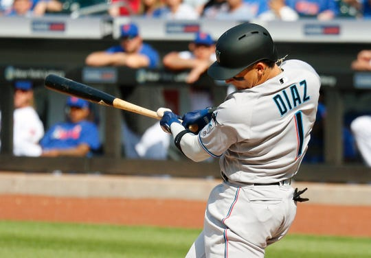 Marlins second baseman Isan Diaz hit 26 home runs in the minors this season before being promoted to the majors.