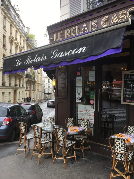 "At Le Relais Gascon, the Salade du Chef is among a selection of ""salads géantes"" (giant salads), each a meal in itself and featuring a mound of potatoes sautéed in garlic, a specialty of southwestern France."