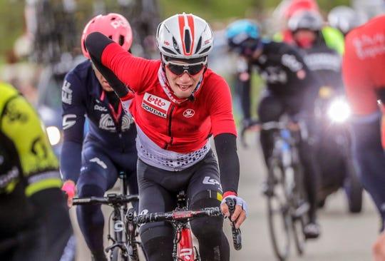 A photo taken on April 28 2019 of Belgian rider Bjorg Lambrecht.