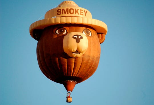 The Smokey Bear hot-air balloon is shown flying at the International Balloon Fiesta in Albuquerque, New Mexico, on Oct. 2, 2011.