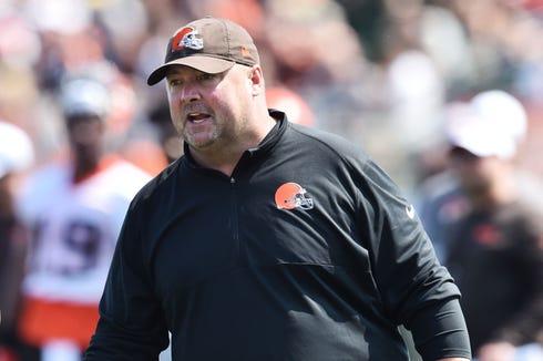 Cleveland Browns head coach Freddie Kitchens during training camp at the Cleveland Browns Training Complex.