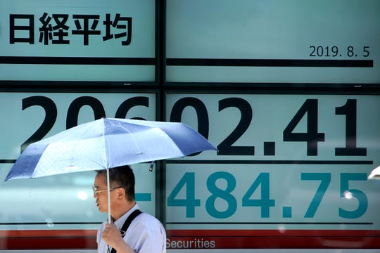 A man with a parasol walks past an electronic stock board showing Japan's Nikkei 225 index at a securities firm in Tokyo Monday, Aug. 5, 2019.