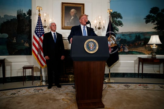 President Donald Trump speaks about the mass shootings in El Paso, Texas and Dayton, Ohio, in the Diplomatic Reception Room of the White House, Monday, Aug. 5, 2019.