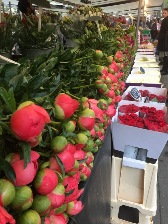 Peonies await at one of the largest weekly street markets in Paris, the Marche Bastille.