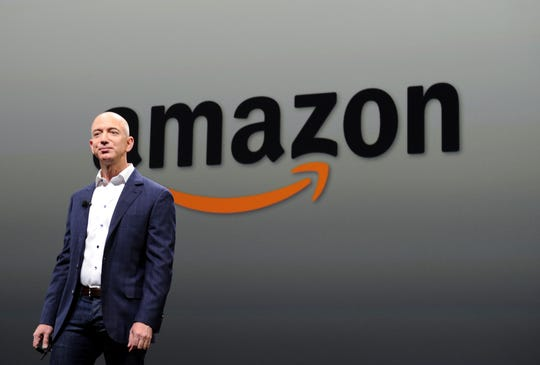 Jeff Bezos, CEO of Amazon, during a press conference in this September 06, 2012 file photo in Santa Monica, California.