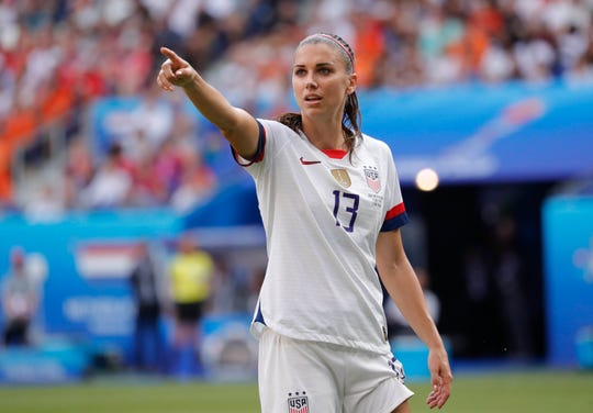 U.S. forward Alex Morgan gestures during her team's World Cup win over the Netherlands. Morgan became vegan in early 2018 and maintains a mostly plant-based diet.