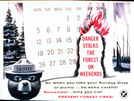 A 1961 poster features a calendar, aimed to educate the American people on when most wildfires take place. Because nine out of 10 wildfires are started by humans, the campaign highlighted the importance of being extra careful during weekend visits to national parks.