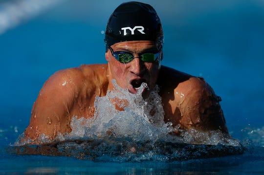 Ryan Lochte swims in the men's 200-meter IM.