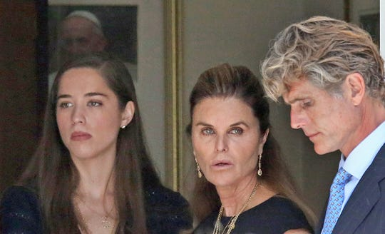 Maria Shriver, center, her daughter Christina Schwarzenegger and brother Anthony Shriver attend the funeral service for Saoirse Kennedy Hill at Our Lady of Victory Church in Centerville, Mass., on Aug. 5, 2019.