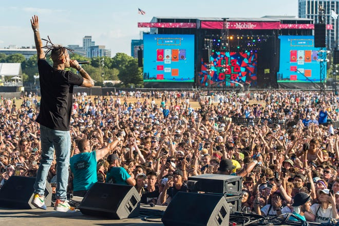 The crowd on day three of Lollapalooza as Lil Skies performs on Aug. 3, 2019, in Chicago.