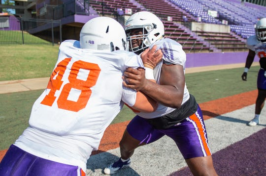 Damian Thompson (right) works at a recent Northwestern State practice.