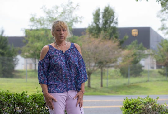 Theresa Klenk, shown outside the UPS distribution facility on Hope Road, is leading a charge to get the company to retrofit its fleet with air conditioning. Her husband is a UPS driver who suffered heat stroke while on his route.   Eatontown, NJTuesday, August 6, 2019
