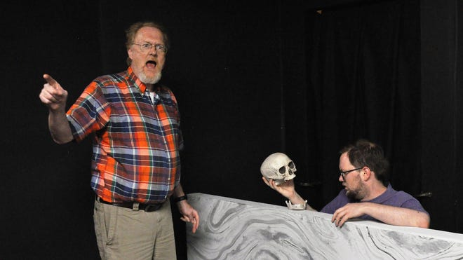 "Scot Miller, left, and Tyler Sparks rehearse a scene Monday from ""The Unnameable,"" one of four one-act plays coming to Abilene Community Theatre next week."