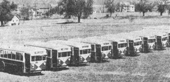 The line of new buses that were used to replace the older trolley cars.