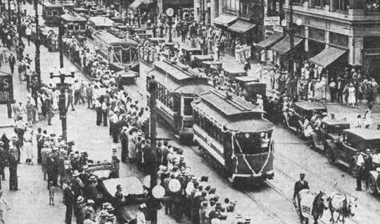 "The ""funeral"" procession of trolleys on Court Street in Binghamton in 1932."