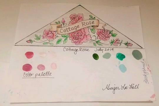 Key Largo artist Ginger Hill drew this sketch that depicts a Cottage Rose banner added to the store's floral painting.
