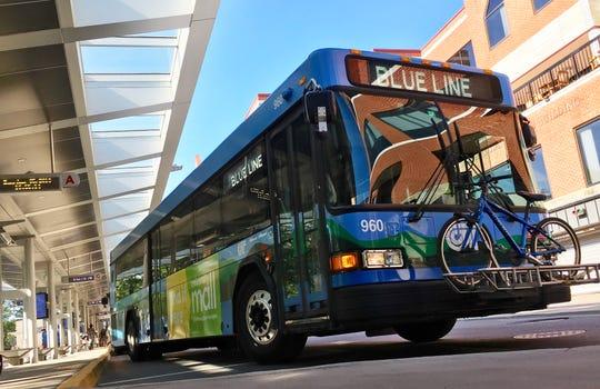 A Shelburne-bound bus leaves the downtown Burlington transit terminal on Aug. 5, 2019.