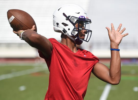 Miller's Andrew Body prepares to throw a pass during football practice, Tuesday, Aug. 6, 2019. Body is a quarterback for the team.