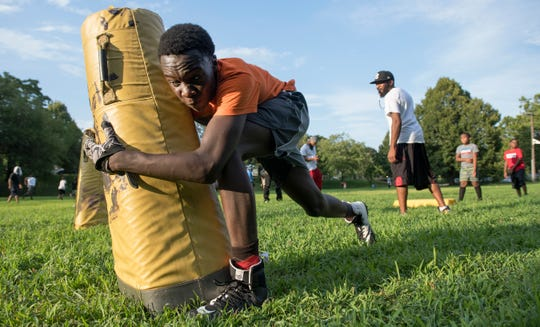 Mekhai Washington, 13,  takes part in a drill during a Centerville Simbas football practice in Camden on Friday, August 2, 2019 .  The Centerville Simbas are entering their 50th season this year.