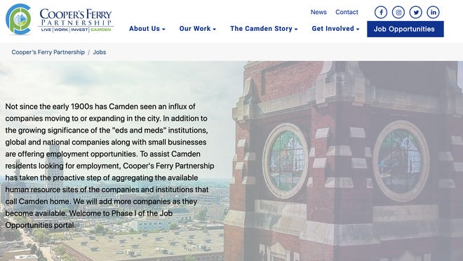 A screenshot shows the Job Opportunities page on the Cooper's Ferry Partnership website.