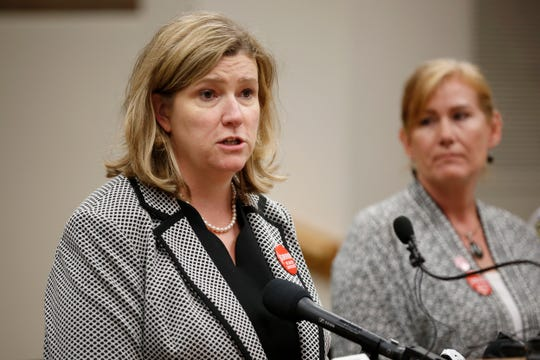 Dayton mayor Nan Whaley gives an opening statement during a press conference to give an update on the mass shooting investigation at city hall in Dayton, Ohio, on Tuesday, Aug. 6, 2019. The FBI announced that it had uncovered a violent ideology, but had not found evidence to suggest the shooting was racially motivated.