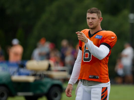 Cincinnati Bengals quarterback Jeff Driskel (6) points during Bengals training camp on Aug. 6, 2019, in Cincinnati.