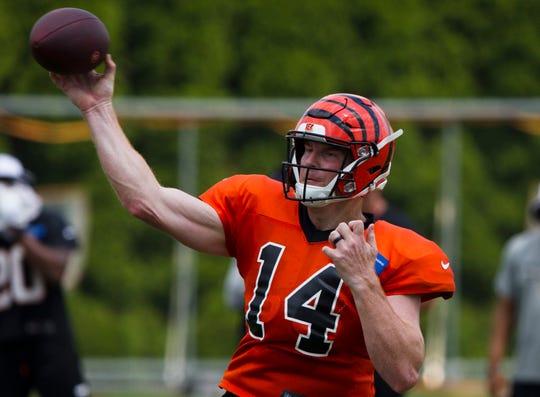 Cincinnati Bengals quarterback Andy Dalton (14) throws a pass during Bengals training camp on Aug. 6, 2019, in Cincinnati.