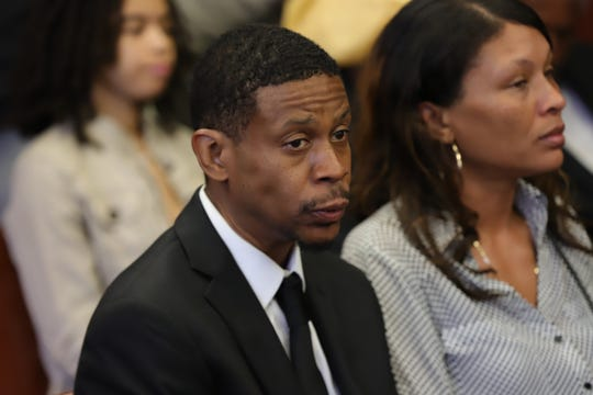 Kecalf Franklin, youngest son of Aretha Franklin, attends the probate hearing for his mother's estate at Oakland County Probate Court in Pontiac, Mich. on Tuesday, Aug. 6, 2019.