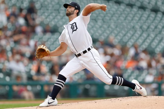 Tigers pitcher Daniel Norris pitches during the first inning of the first game of a doubleheader on Tuesday, Aug. 6, 2019, at Comerica Park.