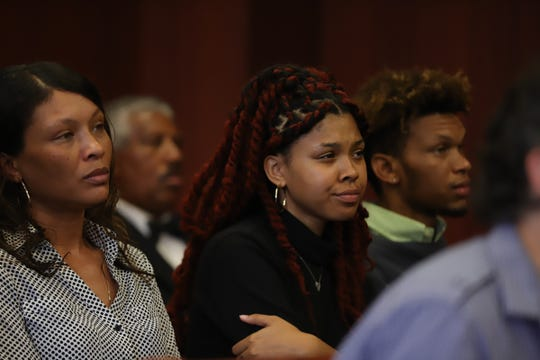 Victorie Franklin, granddaughter of Aretha Franklin, looks on during a probate hearing for Aretha Franklin's estate at Oakland County Probate Court in Pontiac, Mich. on Tuesday, Aug. 6, 2019.