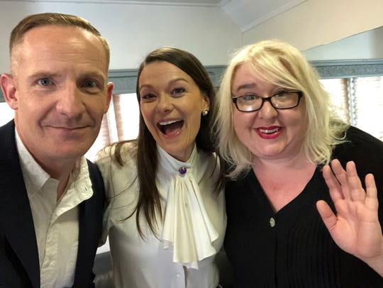 Former Second City Detroit members Marc Evan Jackson, Maribeth Monroe and Jaime Moyer reunite on the Universal lot in Los Angeles. Jackson and Moyer will be appearing at the 2019 Detroit Improv Festival.