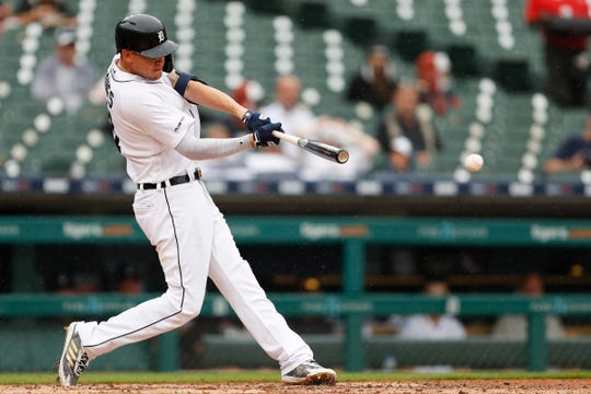Tigers center fielder JaCoby Jones hits a single during the seventh inning of the first game of the doubleheader on Tuesday, Aug. 6, 2019, at Comerica Park.