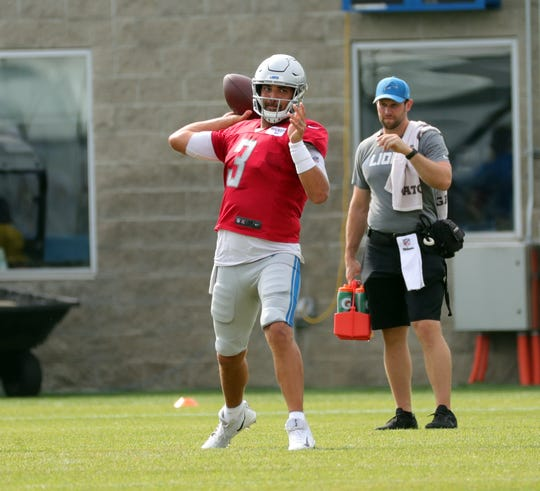 Lions quarterback Tom Savage passes during joint practice in training camp on Tuesday, Aug. 6, 2019, in Allen Park.