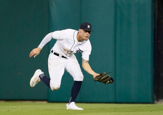 1159922377.jpg DETROIT, MI - AUGUST 5:  Center fielder JaCoby Jones #21 of the Detroit Tigers catches a fly ball hit by Yolmer Sanchez of the Chicago White Sox during the fifth inning at Comerica Park on August 5, 2019 in Detroit, Michigan. (Photo by Duane Burleson/Getty Images)
