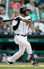 Tigers seconed baseman Harold Castro singles during the first inning of the first game of a doubleheader on Tuesday, Aug. 6, 2019, at Comerica Park.