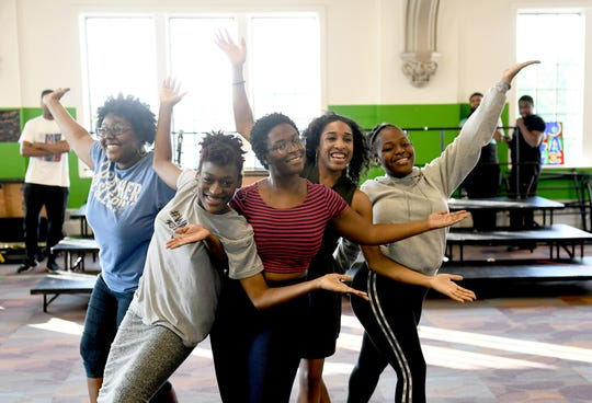"From left, Makayla Hewins, Aj'ziona Campbell-Kelly, Cayla Sims, Jenia Head  and Rayven Davis rehearse for ""Now That I Can Dance - Motown 1962"" at the Mosaic Youth Theatre in Detroit."