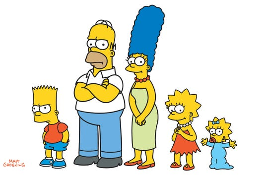 """Bart, Homer, Marge, Lisa and Maggie Simpson on """"The Simpsons."""""""
