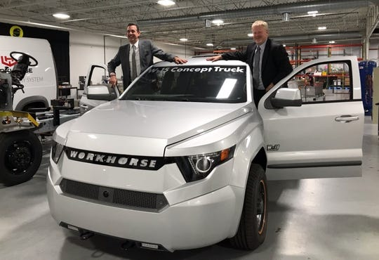 Ohio state Sens. Michael Rulli,  left, and Sean O'Brien recently visited the Workhorse Group Inc. plant in Cincinnati. Workhorse is partnering with the newly formed Lordstown Motors Corp., which wants to purchase the unallocated General Motors Assembly Plant to build a new electric pickup truck with Workhorse technology.