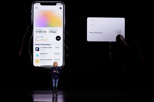 Jennifer Bailey, vice president of Apple Pay, speaks about the Apple Card at the Steve Jobs Theater during an event to announce new products in Cupertino, Calif.
