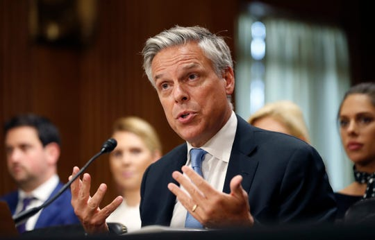 In this Sept. 19, 2017, file photo, former Utah Gov. Jon Huntsman testifies during a hearing of the Senate Foreign Relations Committee on his nomination to become the U.S. ambassador to Russia, on Capitol Hill in Washington. )