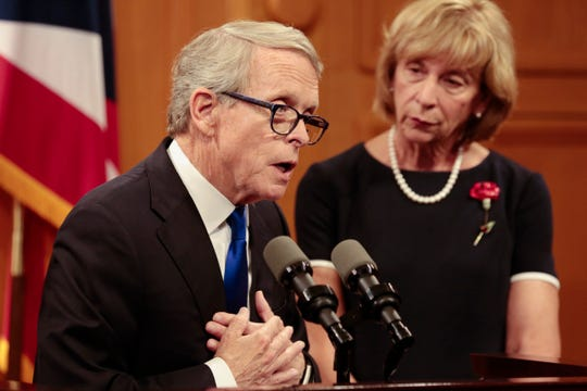 Ohio Gov. Mike DeWine answers a question during a press conference regarding the Dayton Mass Shooting on Tuesday, Aug. 6, 2019 at the Ohio Statehouse in Columbus, Ohio.
