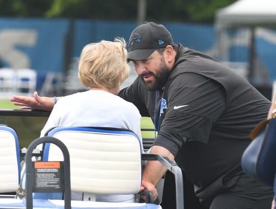 Lions head coach Matt Patricia talks with  owner Martha Ford on Tuesday.