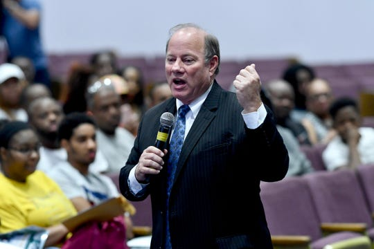 Mayor Mike Duggan speaks to Detroit residents about job opportunities with Fiat Chrysler during a readiness event in Detroit on Tuesday.