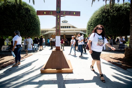 Mourners leave a funeral for Keyla Salazar, 13, on Tuesday, Aug. 6, 2019, in San Jose, Calif.